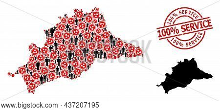 Mosaic Map Of Malaga Province Designed From Flu Virus Items And People Icons. 100 Discount Service D