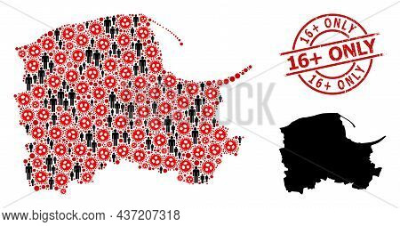 Collage Map Of Pomerania Province Organized From Viral Items And Humans Items. 16 Plus Only Textured