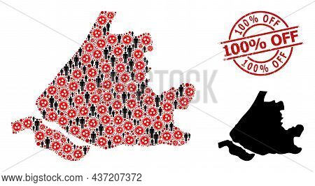 Collage Map Of South Holland United From Flu Virus Icons And Humans Elements. 100 Discount Off Textu