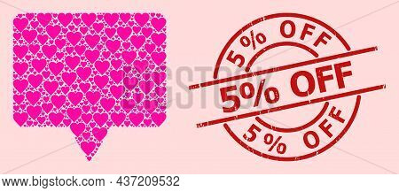 Distress 5 Discount Off Stamp Seal, And Pink Love Heart Mosaic For Banner. Red Round Stamp Seal Has