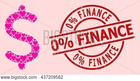 Distress 0 Discount Finance Stamp, And Pink Love Heart Mosaic For Dollar Symbol. Red Round Stamp Sea