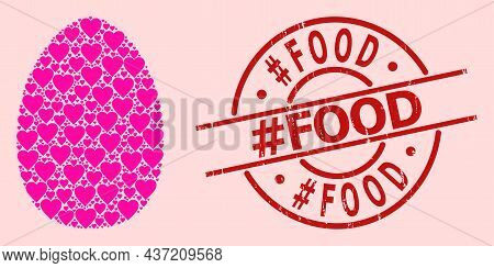 Grunge Tag Food Stamp Seal, And Pink Love Heart Pattern For Egg. Red Round Stamp Seal Includes Tag F