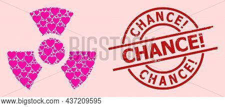 Distress Chance Exclamation Stamp Seal, And Pink Love Heart Pattern For Radioactivity. Red Round Sta