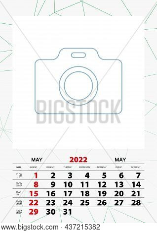 Wall Calendar Planner Template For May 2022, Week Starts On Sunday. Vector Illustration.