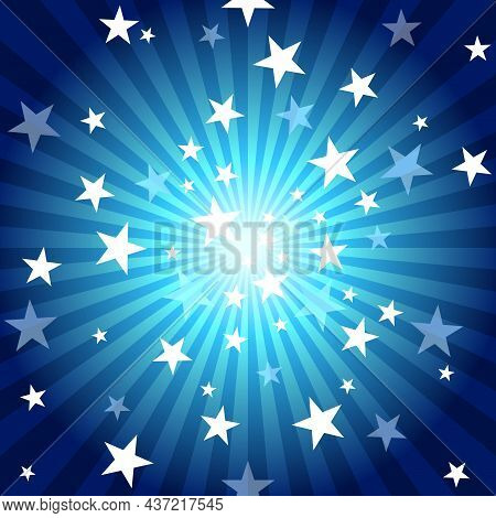 Abstract Blue Background With Light Rays Effect And Starry Burst - Colored Illustration, Vector