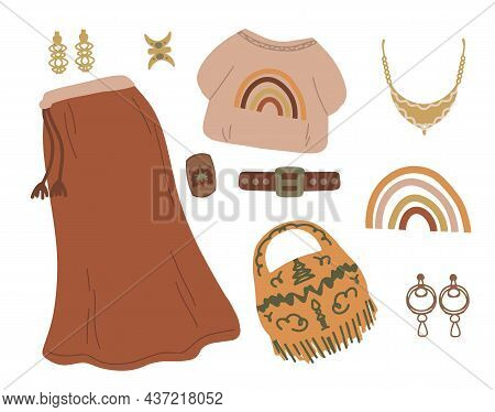 Boho Outfits For Girls In Brown Shades. Items Of Clothing Are A Skirt And A T-shirt, A Set Of Access