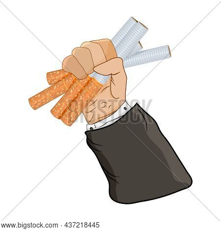 Cigarettes In Fist Hand Isolated On White Background. Heap Cigarettes In Man Hand. Giving Up Smoking
