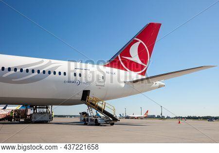 Kyiv, Ukraine - July 1, 2020: Airplane On The Platform Of Boryspil International Airport. Boeing 787