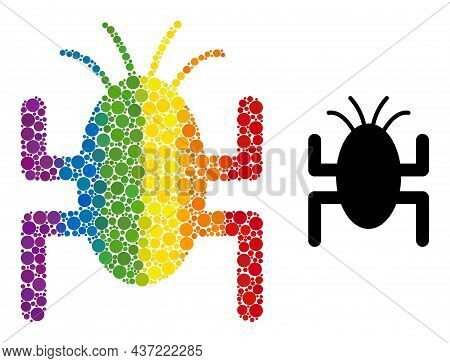 Bug Tick Composition Icon Of Filled Circles In Various Sizes And Spectrum Colored Shades. A Dotted L