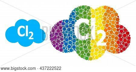 Chlorine Cloud Mosaic Icon Of Spheric Blots In Various Sizes And Spectrum Colored Shades. A Dotted L