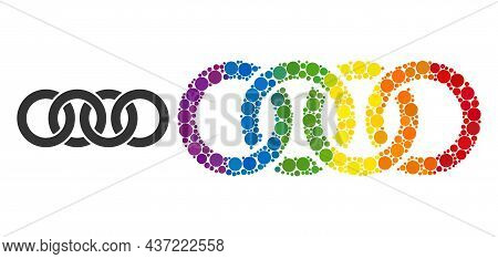 Circle Chain Mosaic Icon Of Round Items In Variable Sizes And Rainbow Color Hues. A Dotted Lgbt-colo