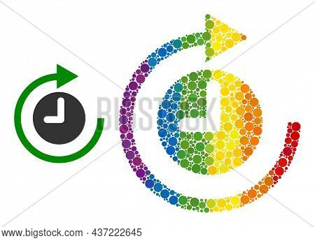 Clockwise Rotation Mosaic Icon Of Round Items In Different Sizes And Spectrum Color Tints. A Dotted