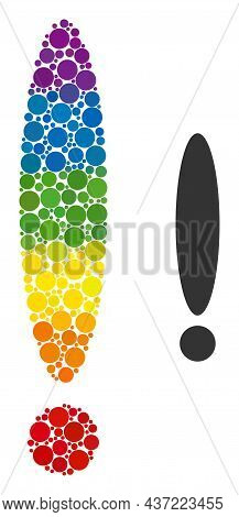 Exclamation Sign Mosaic Icon Of Round Items In Variable Sizes And Rainbow Color Hues. A Dotted Lgbt-
