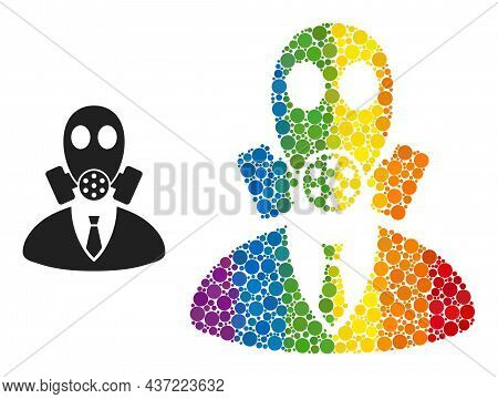 Gasmask Boss Composition Icon Of Spheric Blots In Different Sizes And Spectrum Color Tones. A Dotted
