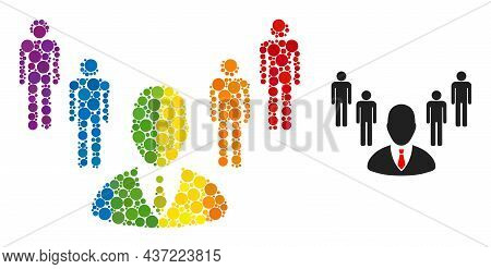 Group Boss Mosaic Icon Of Spheric Blots In Various Sizes And Spectrum Multicolored Color Tones. A Do