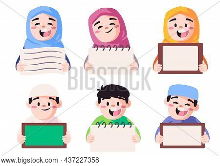 Islamic Students Boys And Girls Holding Small Board To Write Your Text Or Idea Here Modern Cartoon F