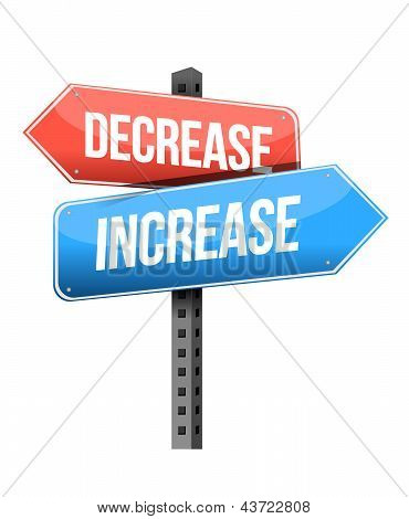 decrease increase road sign illustration design over a white background poster
