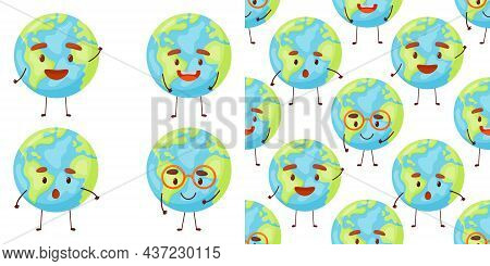 Seamless Pattern With Cute Planet Earth Characters With Face. Kawaii Globe. Funny Celestial Body. Ha