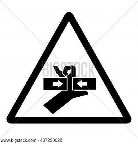 Hand Crush Force From Two Sides Symbol Sign, Vector Illustration, Isolate On White Background Label