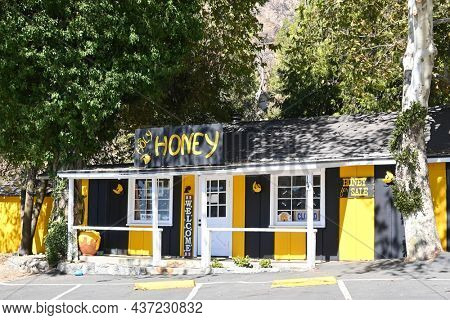 OAK GLEN, CALIFORNIA - 10 OCT 2021: Holy-Honey produces Pure, Raw, Natural, Unfiltered, Artisan Infused Honey.