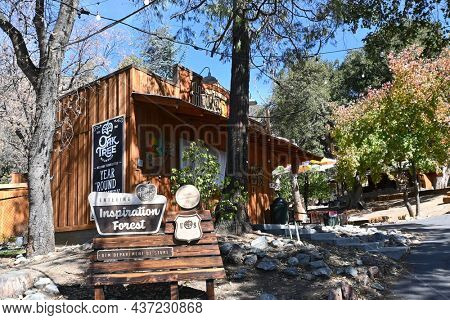 OAK GLEN, CALIFORNIA - 10 OCT 2021: Inspiration Forest sign at Oak Tree Mountain established 50 years ago as a small apple shed has grown to be a 14- acre family fun park.