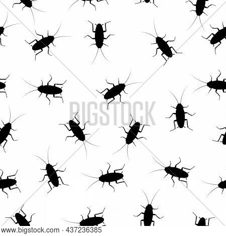 Cockroach Insect Seamless Pattern Background, Pest Bug Top View. Flat Body Parasite Pollution, Roach