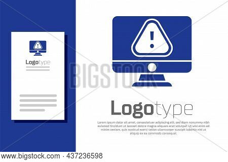 Blue Computer Monitor With Exclamation Mark Icon Isolated On White Background. Alert Message Smartph