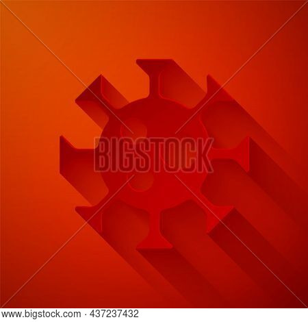 Paper Cut Virus Icon Isolated On Red Background. Corona Virus 2019-ncov. Bacteria And Germs, Cell Ca