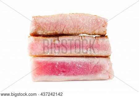 Tuna Steaks Of Varying Degrees Of Doneness. Rare, Medium, Well Close-up. Isolated On White Backgroun