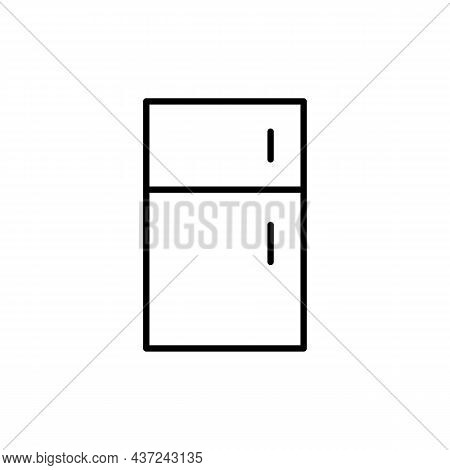 Fridge Icon. Household Equipment Concept. Contour Of Refrigator On White Background. Isolated Outlin