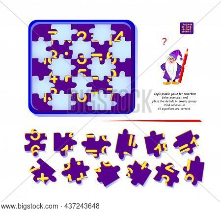 Logic Puzzle Game For Smartest. Solve Examples And Place The Details In Empty Spaces. Find Solution