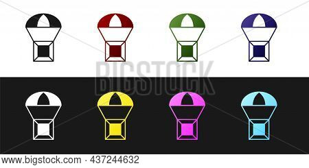 Set Box Flying On Parachute Icon Isolated On Black And White Background. Parcel With Parachute For S