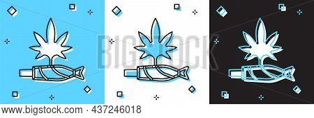 Set Marijuana Joint, Spliff Icon Isolated On Blue And White, Black Background. Cigarette With Drug,