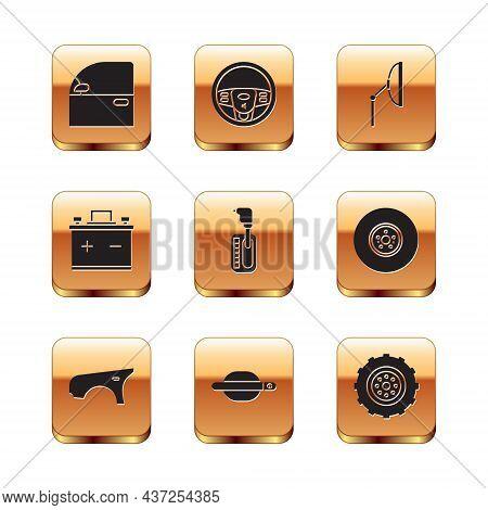 Set Car Door, Fender, Handle, Gear Shifter, Battery, Windscreen Wiper, Wheel And Steering Icon. Vect