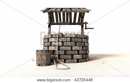 Wishing Well With Wooden Bucket And Rope