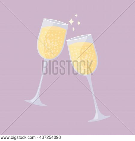 Two Glasses Of Champagne Clink. Sparkling Wine Isolated. Romantic Date Or Holiday Celebration. Vecto