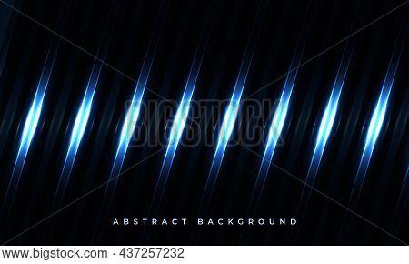 Dark Elegant Luxury Futuristic Modern Geometric Background With Glowing Blue Light Lines. Glow Effec