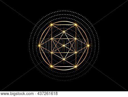Gold Magic Alchemy Symbols, Sacred Geometry. Religion, Philosophy, Spirituality, Occultism Concept.