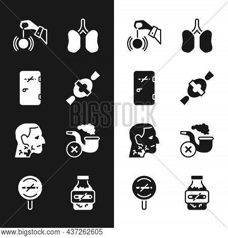 Set Candy, No Smoking Area, Hypnosis, Lungs, Throat Cancer, Smoking Pipe With Smoke, Nicotine Gum Bl