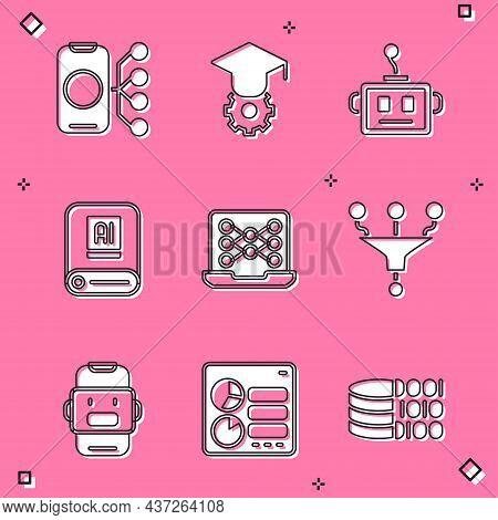 Set Neural Network, Graduation Cap, Artificial Intelligence Robot, Ai, Funnel Filter, Chat And Compu