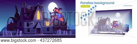 Night Landscape With Old House And Witch Flying On Broom. Vector Parallax Background For 2d Animatio