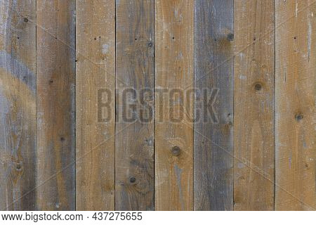 Old Dry Weathered Gray And Brown Wooden Planks Board Surface - Full Frame Background And Texture.