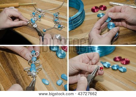 hands of woman creating fashion jewelry