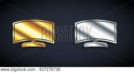 Gold And Silver Computer Monitor Icon Isolated On Black Background. Pc Component Sign. Long Shadow S