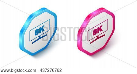 Isometric Computer Monitor Icon Isolated On White Background. Pc Component Sign. Hexagon Button. Vec