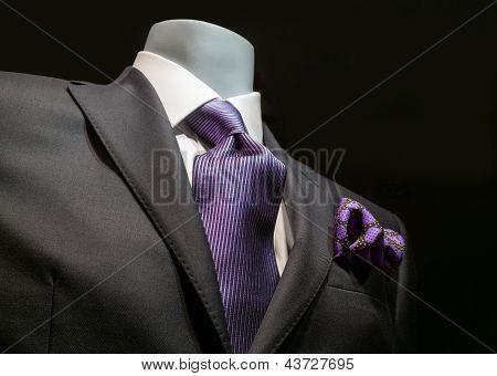 Dark Gray Jacket With Purple Tie