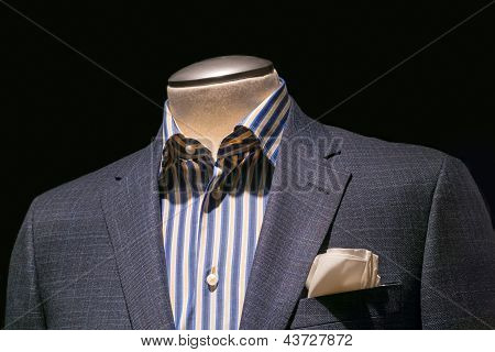 Gray Checkered Jacket With Blue & Yellow Striped Shirt And Cream Handkerchief