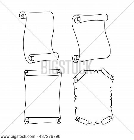Ancient Empty Scroll Icon. A Set Of Outline Vector Paper Scrolls Or Papyrus Isolated On White Backgr