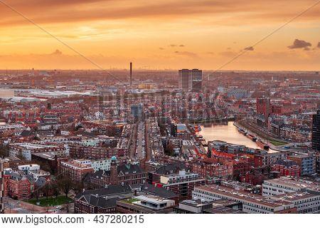 Rotterdam, Netherlands, cityscape towards the borough of Delfshaven at twilight