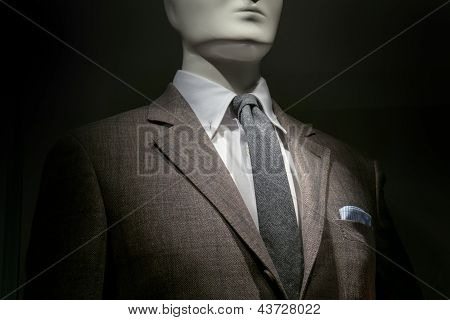 Brown Checkered Jacket, White Shirt, Grey Tie And Striped Handkerchief